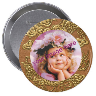 Gold Dragon on Natural Tan Leather Texture Pinback Button