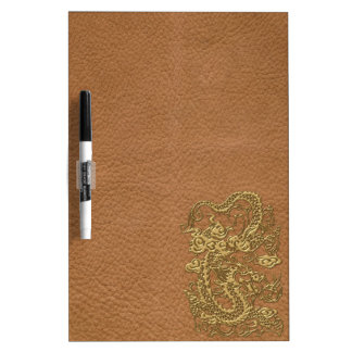 Gold Dragon on Natural Tan Leather Texture Dry Erase Whiteboard