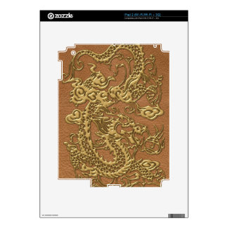 Gold Dragon on Natural Tan Leather Texture iPad 2 Skin