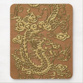 Gold Dragon on Natural Tan Leather Texture Mouse Pad