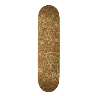 Gold Dragon on Natural Tan Leather Texture Skateboard