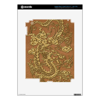 Gold Dragon on Natural Tan Leather Texture Skins For iPad 3
