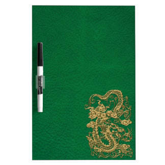 Gold Dragon on Pine Green Leather Texture Dry-Erase Board