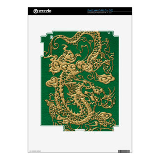Gold Dragon on Pine Green Leather Texture iPad 2 Skin