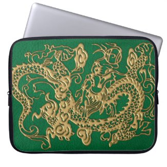 Gold Dragon on Pine Green Leather Texture Computer Sleeve