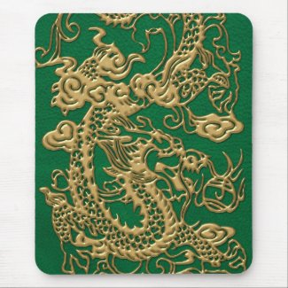 Gold Dragon on Pine Green Leather Texture Mouse Pad