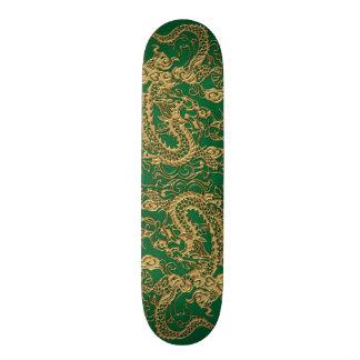 Gold Dragon on Pine Green Leather Texture Skate Decks