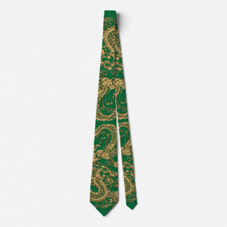 Gold Dragon on Pine Green Leather Texture Tie