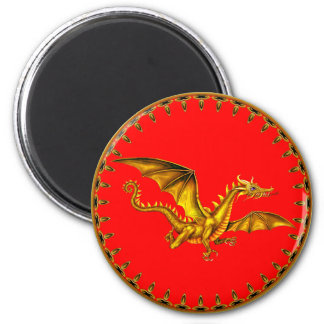 gold dragon on red 2 inch round magnet