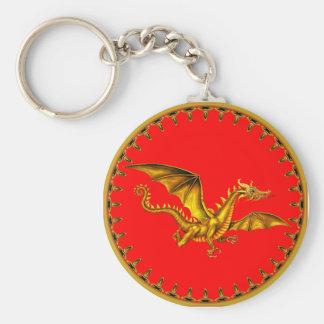 gold dragon on red basic round button keychain