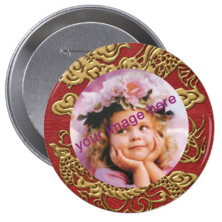 Gold Dragon on Red Leather Texture Pinback Button
