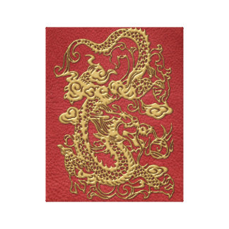 Gold Dragon on Red Leather Texture Canvas Print