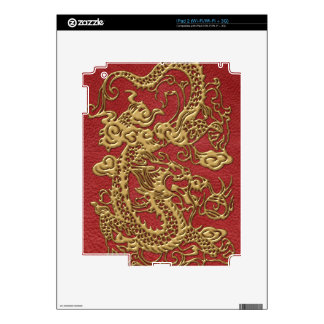 Gold Dragon on Red Leather Texture Decals For iPad 2