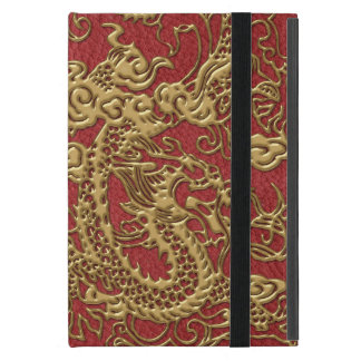 Gold Dragon on Red Leather Texture iPad Mini Case