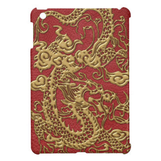 Gold Dragon on Red Leather Texture iPad Mini Cover