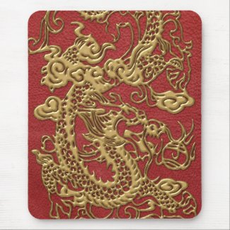 Gold Dragon on Red Leather Texture Mousepads