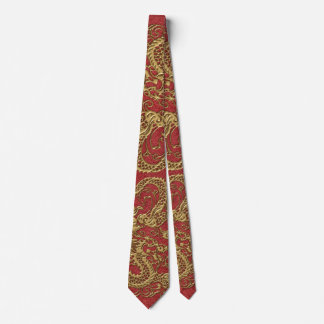 Gold Dragon on Red Leather Texture Neck Tie