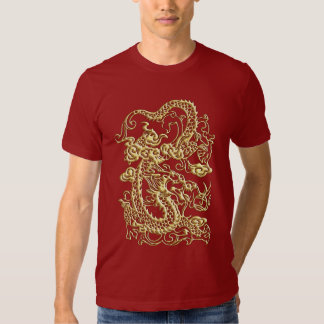 Gold Dragon On Red T shirt
