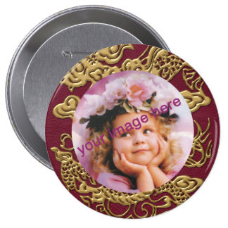 Gold Dragon On RedWine Leather Texture Pinback Buttons