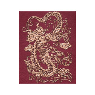 Gold Dragon on RedWine Leather Texture Canvas Print