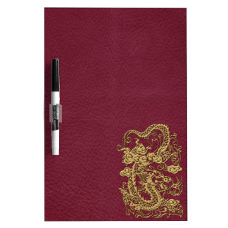 Gold Dragon On RedWine Leather Texture Dry-Erase Board