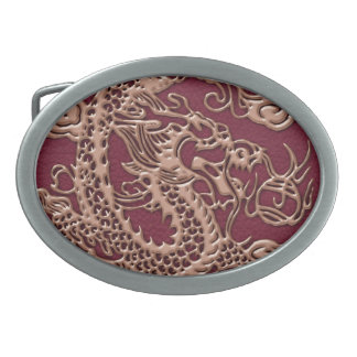 Gold Dragon on RedWine Leather Texture Oval Belt Buckle