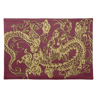 Gold Dragon On RedWine Leather Texture Placemat