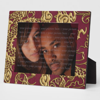 Gold Dragon On RedWine Leather Texture Display Plaques