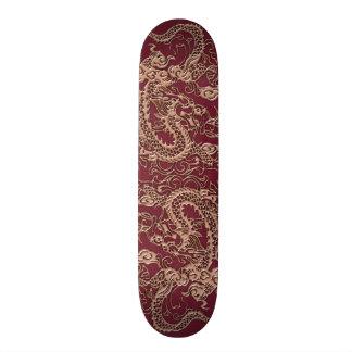 Gold Dragon on RedWine Leather Texture Skate Decks