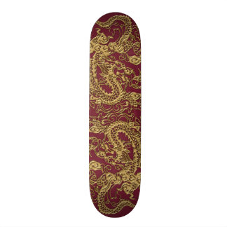 Gold Dragon On RedWine Leather Texture Skate Board