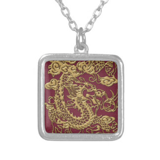 Gold Dragon On RedWine Leather Texture Square Pendant Necklace