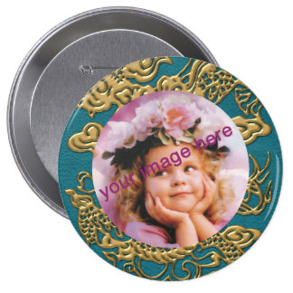 Gold Dragon on Till Leather Texture Pinback Button