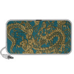 Gold Dragon on Till Leather Texture iPhone Speaker