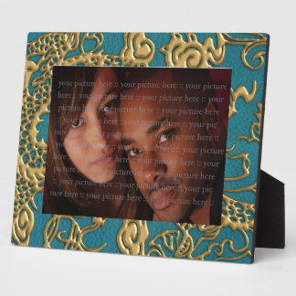 Gold Dragon on Till Leather Texture Photo Plaques