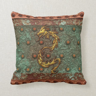 Gold Dragon on Victorian Studded Steel-look Pillow