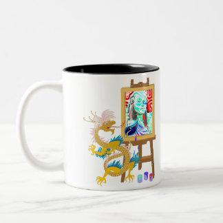 Gold Dragon paints your portrait template Mug