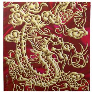 Gold Dragon Red Satin Lush Napkins