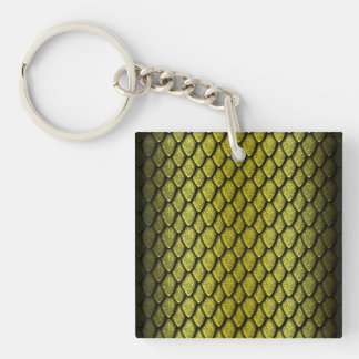 Gold Dragon Scales Acrylic Key Chain