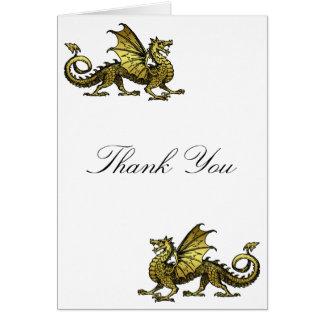 Gold Dragon Thank You Card
