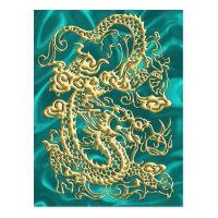 Gold Dragon Turquoise Satin Lush Gold Card Postcard (<em>$1.15</em>)
