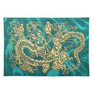 Gold Dragon Turquoise Satin Lush Placemat