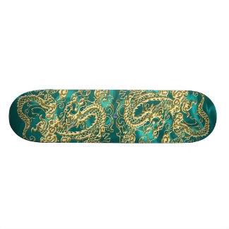 Gold Dragon Turquoise Satin Lush Skateboard