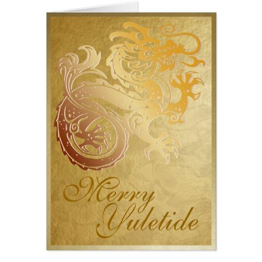 Gold Dragon - Yule Greeting Card
