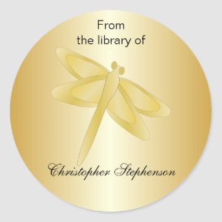 Gold Dragonfly Bookplate Classic Round Sticker