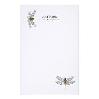 Gold Dragonfly Linen Stationary Personalized Stationery