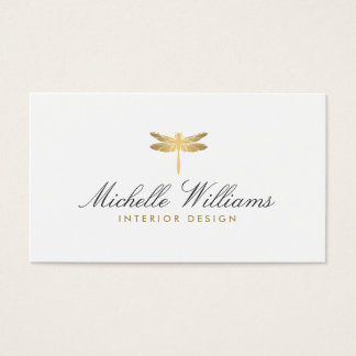 Gold Dragonfly Logo for Interior Designer Business Card