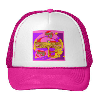 Gold Dragonfly Pink-Purple Gifts by Sharles Mesh Hat