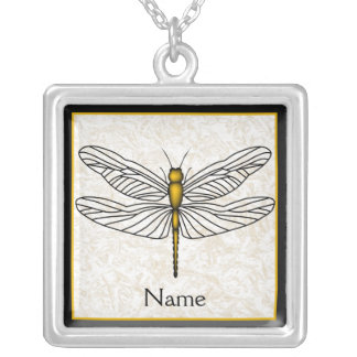 Gold Dragonfly Silver Plated Necklace