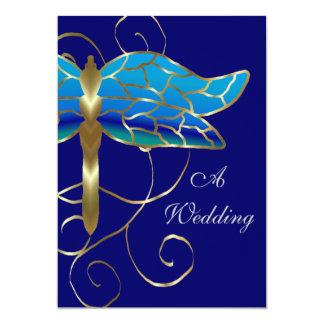 Gold Dragonfly Tiara Wedding Invitation