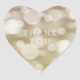Gold Dreamy Bokeh Ombre Thank You Heart Sticker